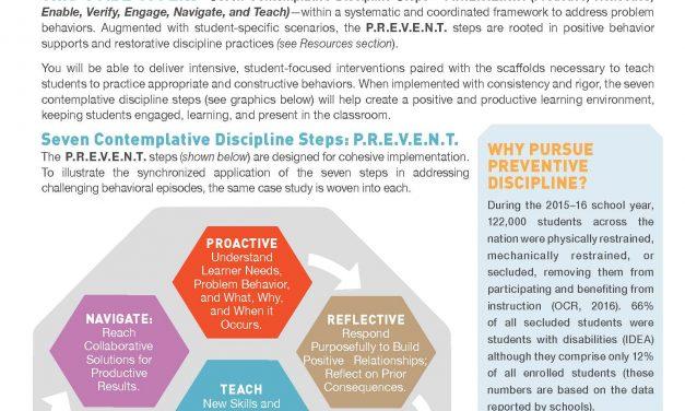 P.R.E.V.E.N.T. Problem Behaviors: Seven Contemplative Discipline Steps